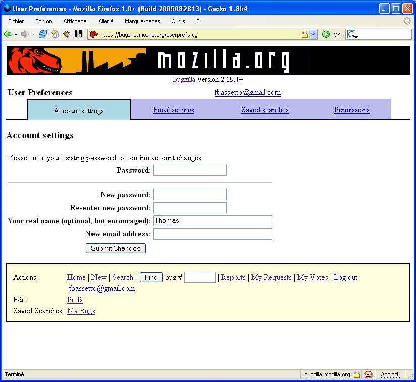 bugzilla login page